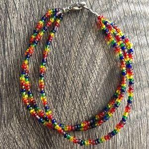Jewelry - Rainbow 3 Row Beaded Pride Bracelet